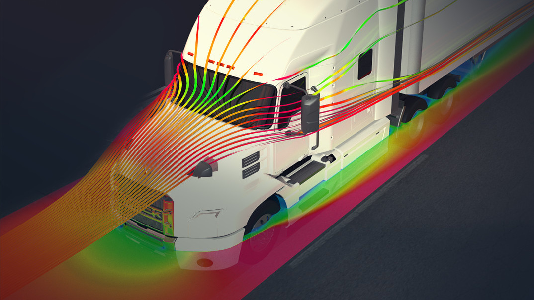 Video image still of a Mack Anthem in a simulated aerodynamic test.